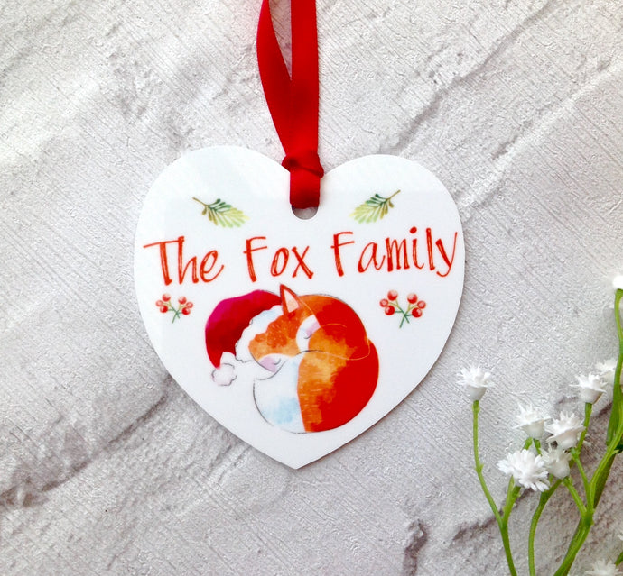 Christmas Fox Personalised metal bauble - printed - Fred And Bo