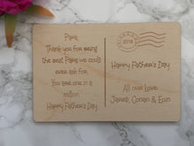 Father's Day wooden engraved postcard - Fred And Bo