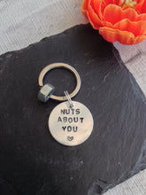 Nuts about you hand stamped metal keyring with nut. - Fred And Bo
