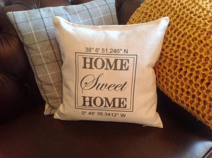 Home Sweet Home longitude Latitude personalised printed cushion - Fred And Bo
