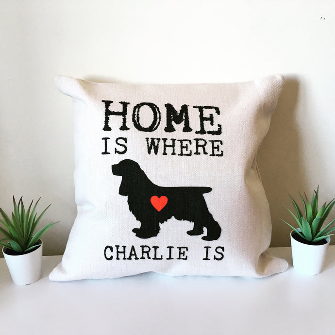 Pet silhouette Home is where ..... is personalised printed cushion - Fred And Bo