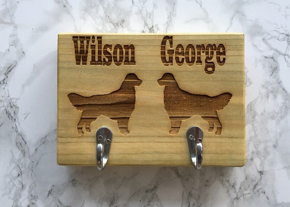 Personalised Double Dog Lead Holder - Fred And Bo