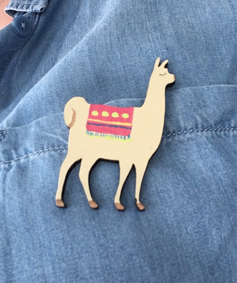 Llama - laser cut hand painted wooden badge - Fred And Bo