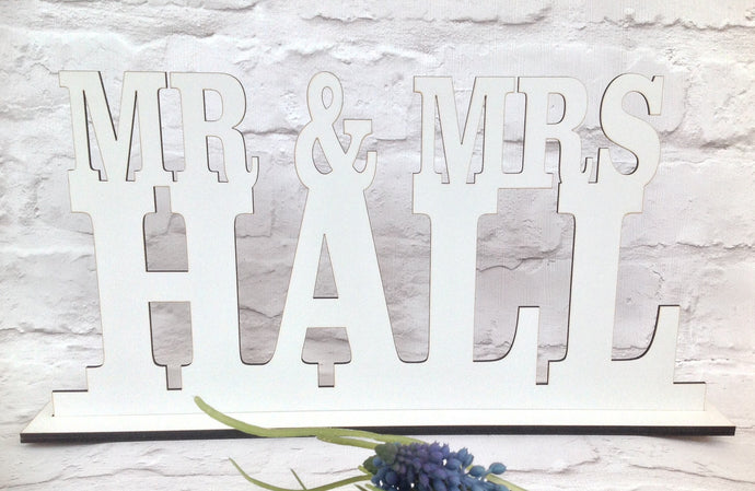 Mr & Mrs ..... laser cut wedding plaque - Fred And Bo