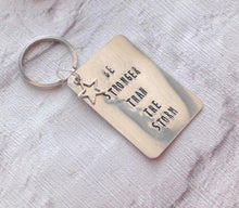 Be stronger than the storm- positive mantra- hand stamped metal key ring - Fred And Bo
