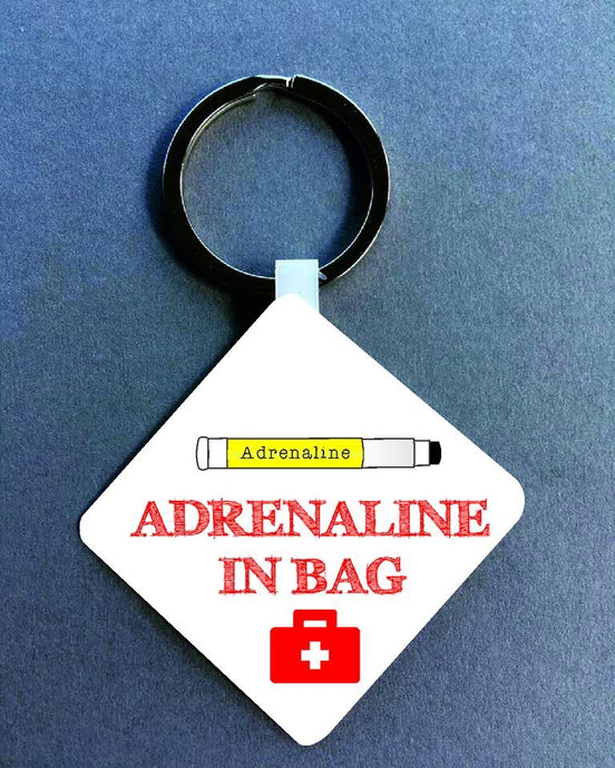 Adrenaline In Bag Medical Alert Keyring. - Fred And Bo