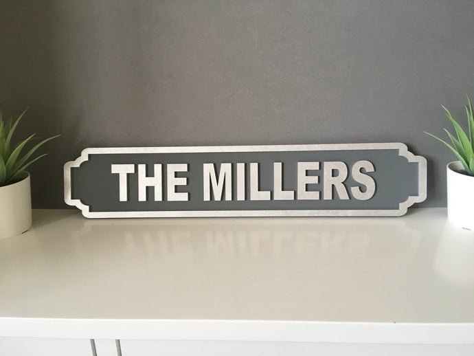 Street Sign - Family Name - Railway Station Vintage Style. Personalised - Fred And Bo