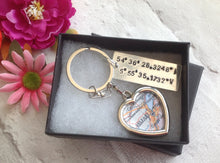 Longitude latitude place name keyring - map gift - Fred And Bo