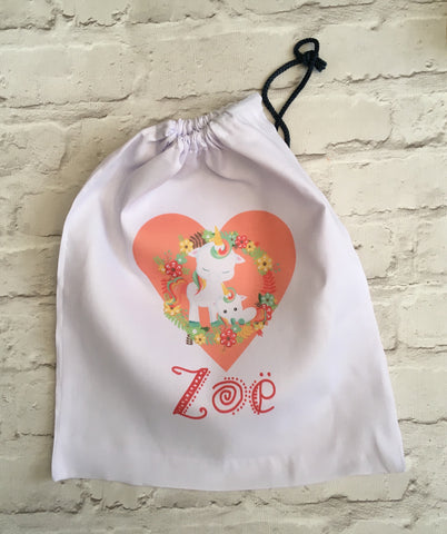Personalised drawstring gym bag - Unicorn design - Fred And Bo