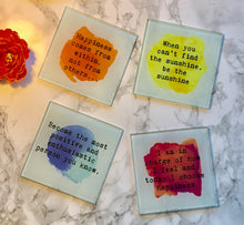 Positive mantra- Happiness comes from within - positive quote - printed Glass Coaster - Fred And Bo