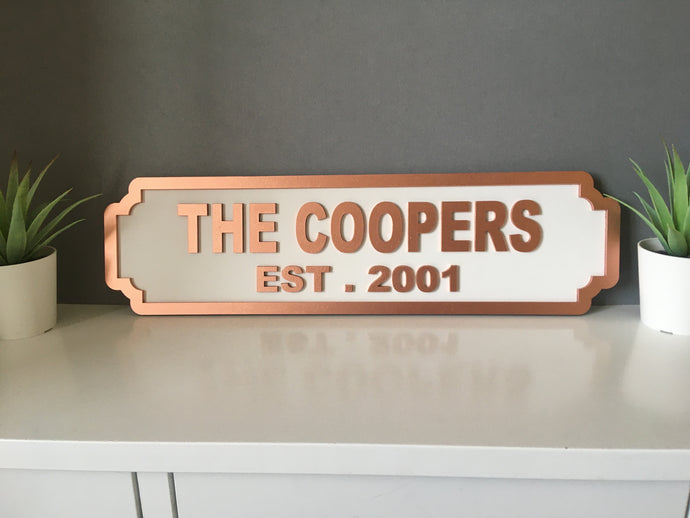 MR & MRS (double line) wedding with DATE Railway street retro sign plaque Personalised - Fred And Bo