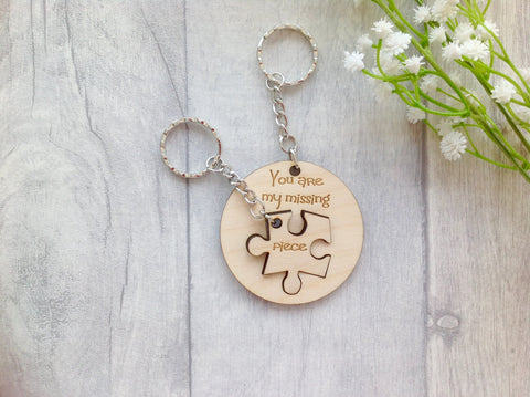 You are my missing piece jigsaw two piece keyring - Fred And Bo