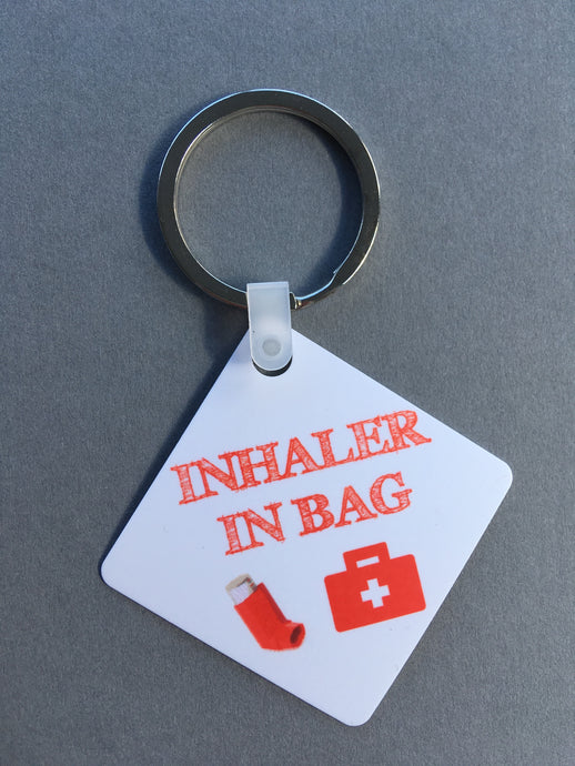 Inhaler In Bag Medical Alert Keyring. - Fred And Bo