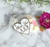 Wedding favour Tag - Heart with initials and date - Wooden wedding - Fred And Bo
