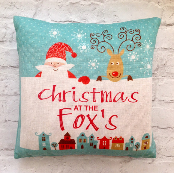 Christmas at the....... personalised cushion