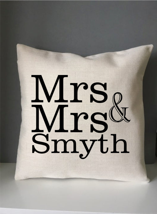 Mrs & Mrs personalised printed cushion - Fred And Bo