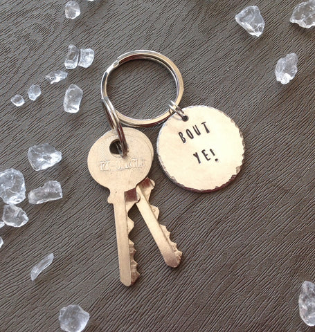 Bout ye - Belfast slang - hand stamped key chain - Fred And Bo