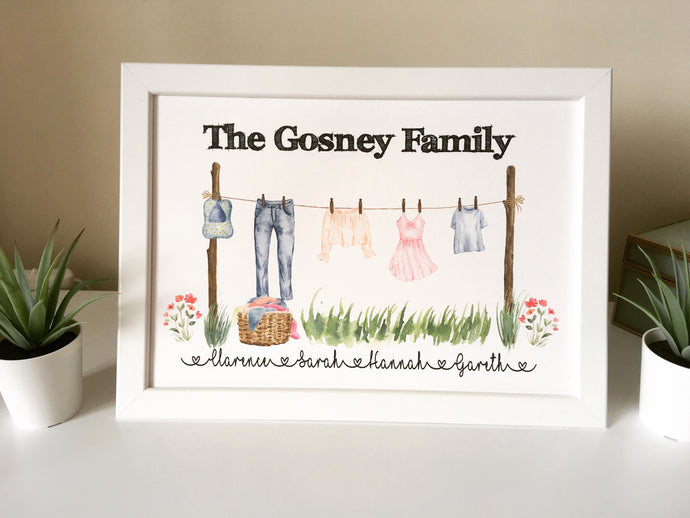 Family Clothes Line Framed Print - Fred And Bo