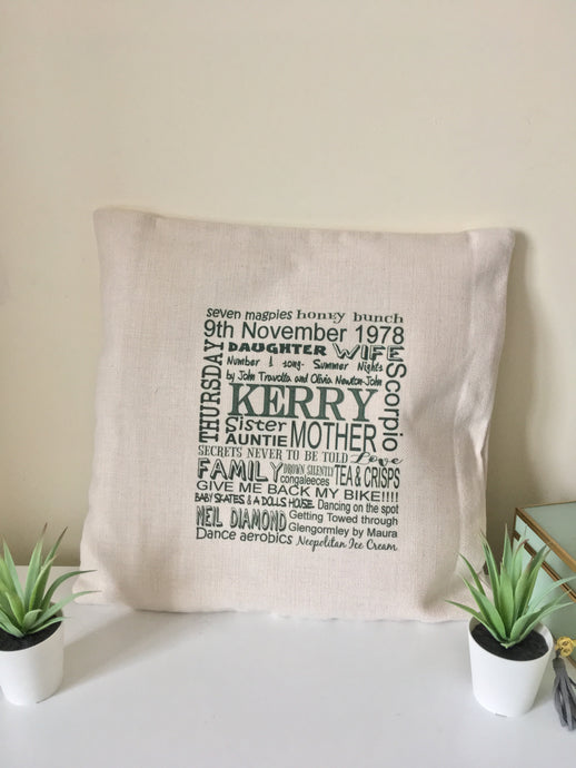 Personalised Word Art printed cushion - Fred And Bo