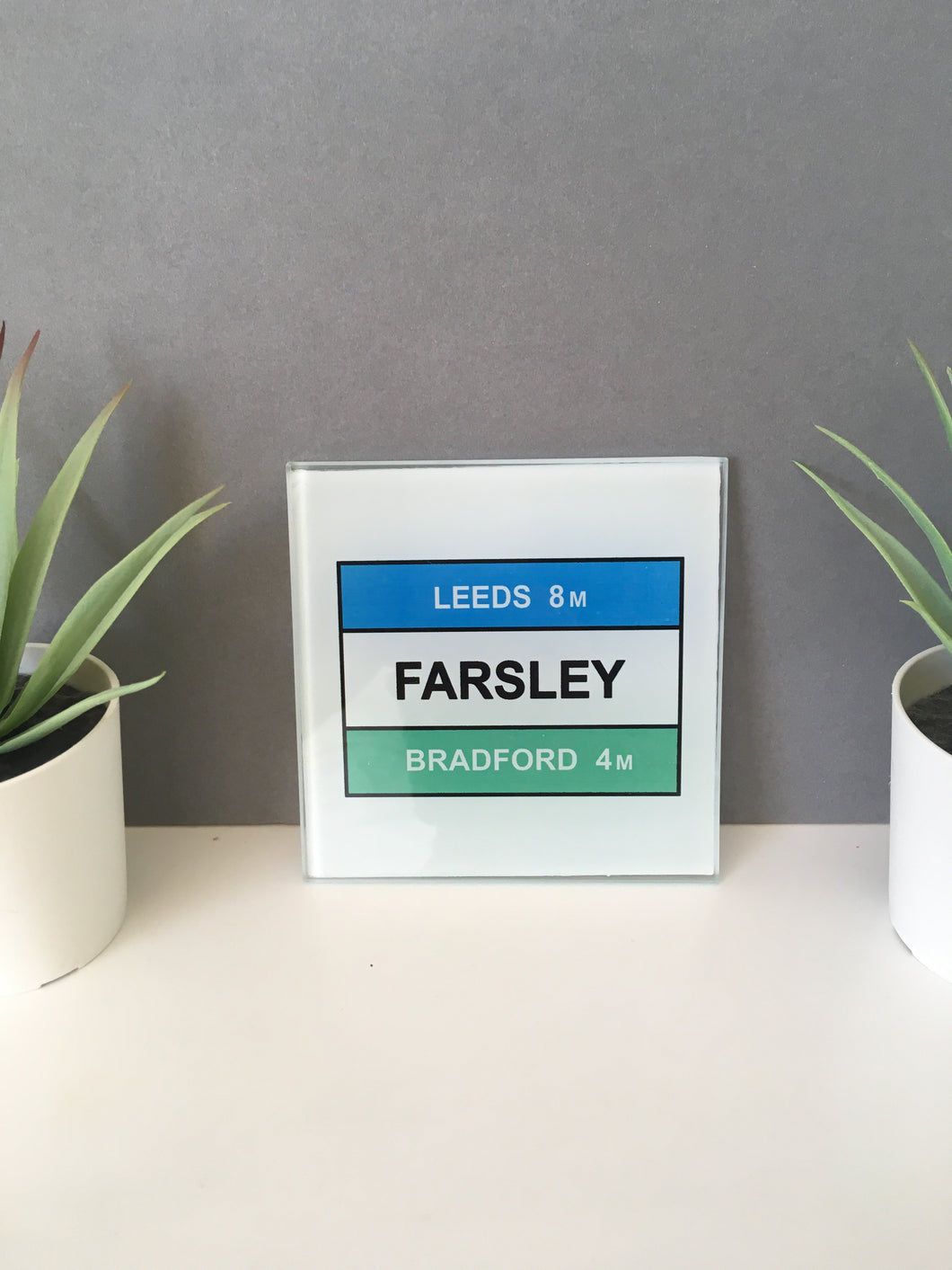 Farsley Road Sign Glass Coaster set of 4 - Fred And Bo