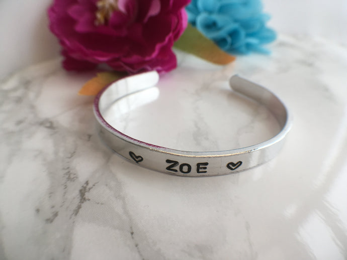 Child's hand stamped aluminium cuff bangle - Personalised - Fred And Bo