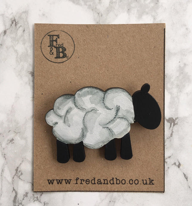 Sheep- Laser cut hand painted wooden badge
