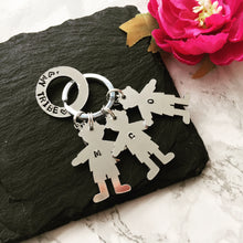 My Tribe washer and child silhouette hand stamped key ring key chain