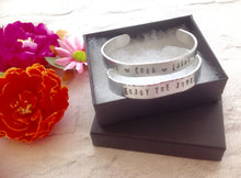Hand stamped aluminium bangle - Enjoy The Journey - positive mantra - Fred And Bo