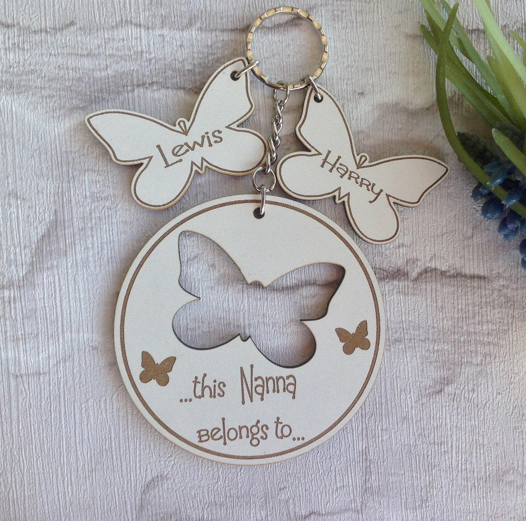 Personalised Butterfly key ring with butterfly charm- White - Fred And Bo