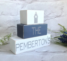 Personalised stacking blocks - set of three family home - Fred And Bo