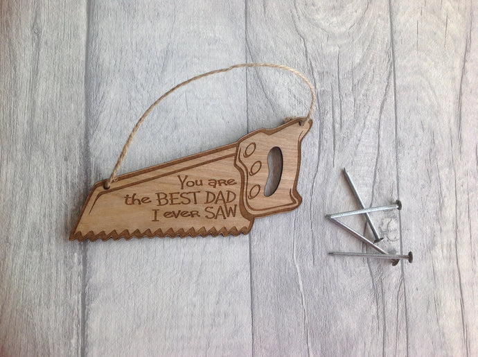 Wooden saw - personalised Father's Day gift - saw plaque - Fred And Bo