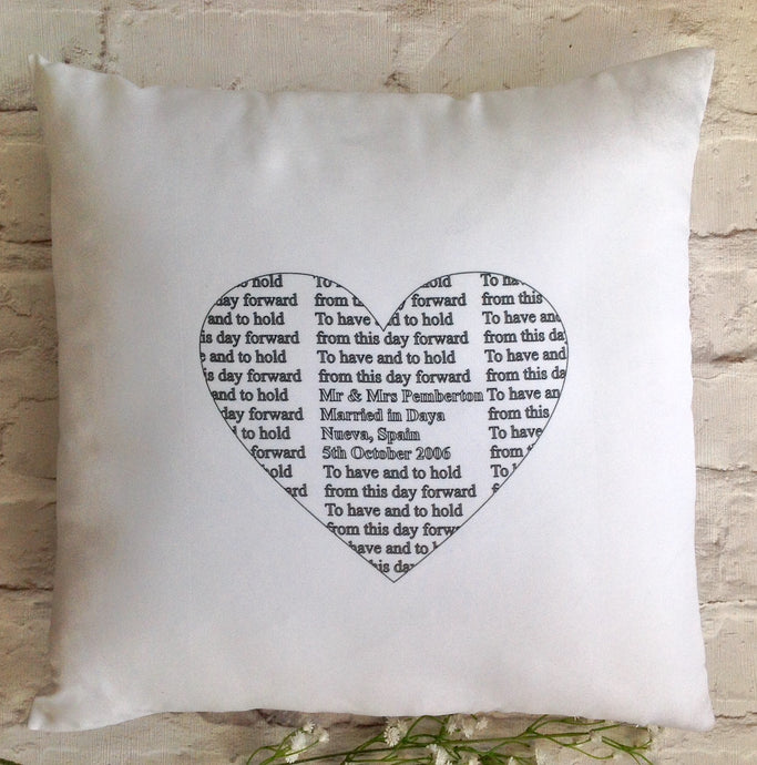 Wedding anniversary cushion pillow - personalised - Fred And Bo