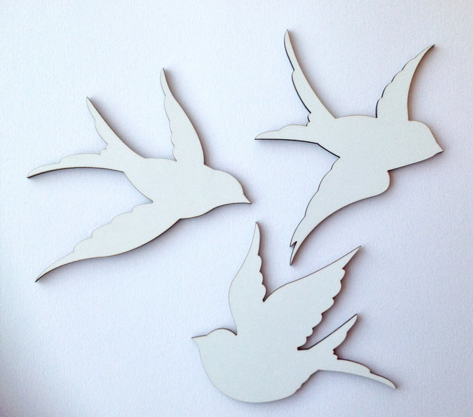 Flying trio of birds laser cut wood - Fred And Bo