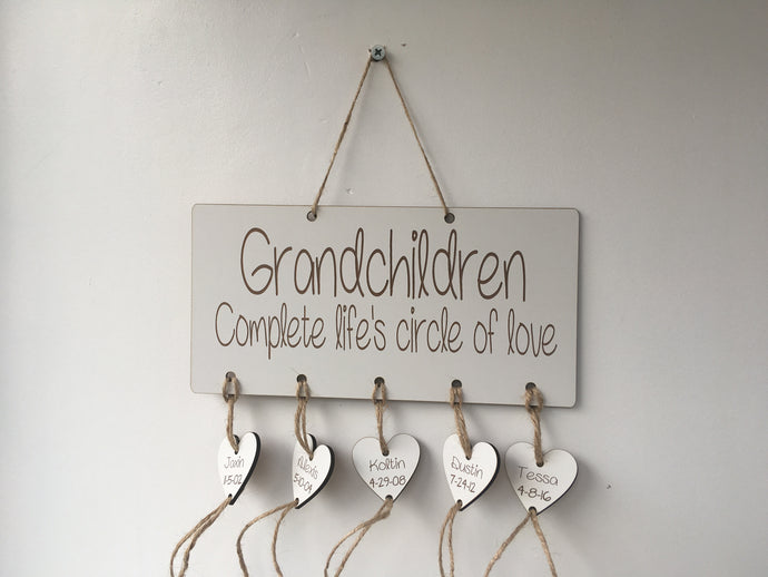 Family circle of love grandparent Personalised plaque laser cut - Fred And Bo
