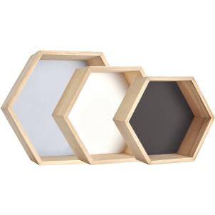 Halmstad set/ 3 hexagon-shape display units - Fred And Bo
