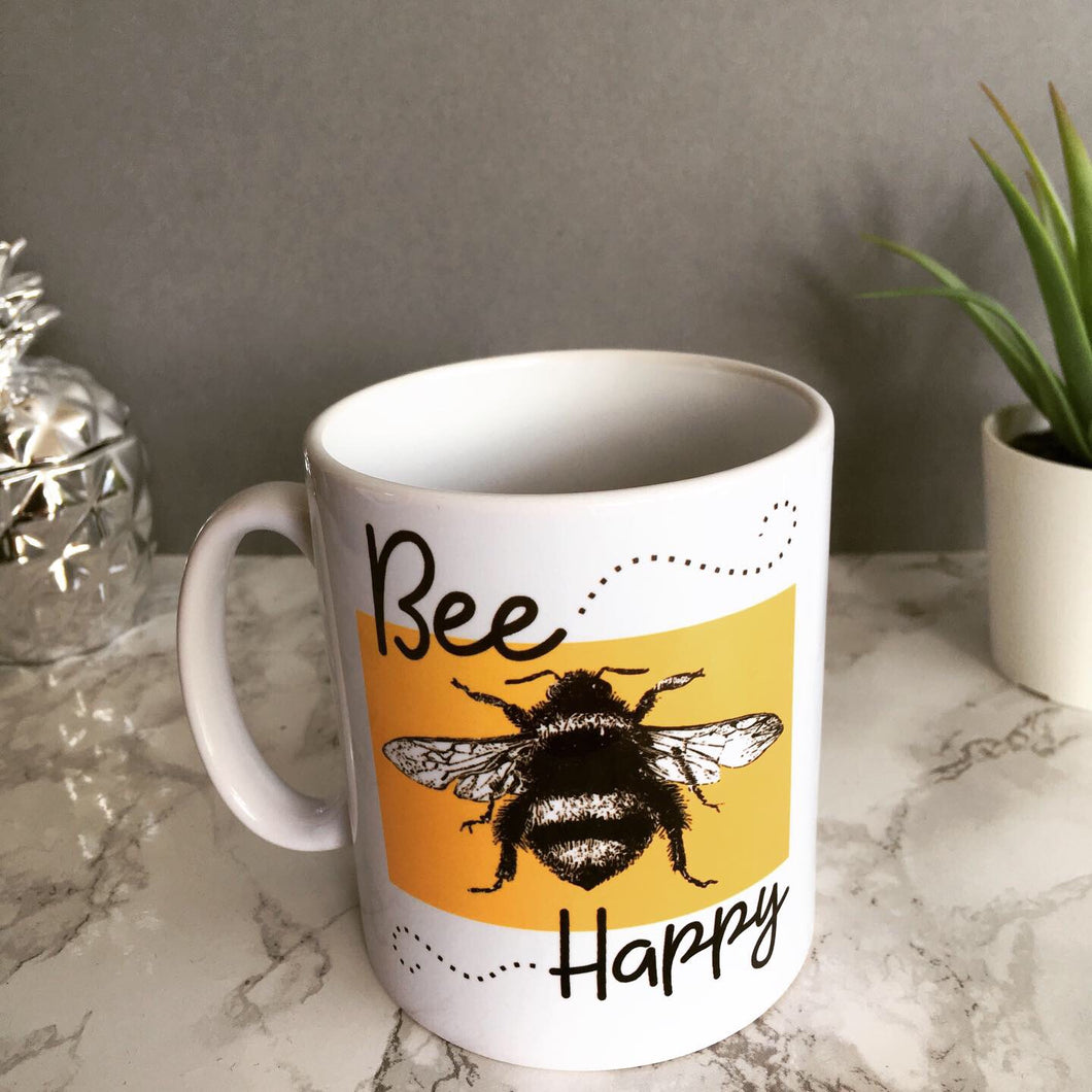 Bee happy printed ceramic mug - Fred And Bo