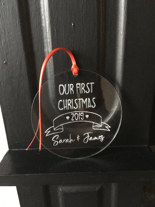 Our first Christmas As Mr & Mrs bauble Scroll Acrylic - Fred And Bo