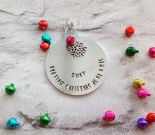 CHRISTMAS BAUBLE First Christmas as Mr & Mrs - hand stamped with charm and bell - Fred And Bo