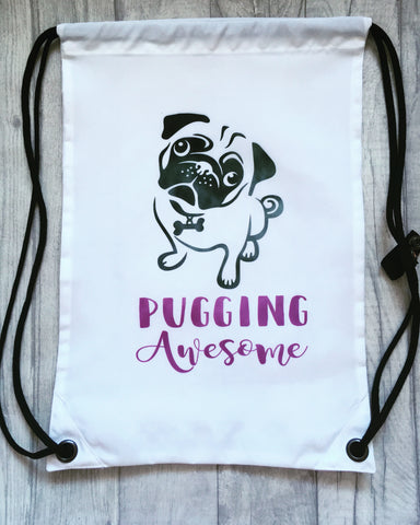 Pug - pugging awesome Personalised drawstring gym bag - - Fred And Bo