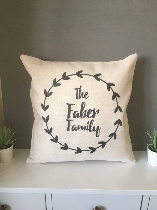 Family Name Wreath cushion pillow - personalised - Fred And Bo