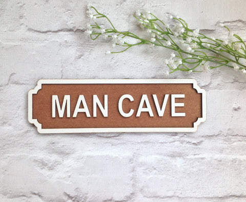 MAN CAVE Railway street sign vintage style plaque - Fred And Bo