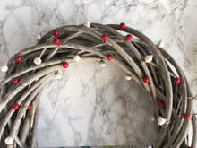 Red and Silver Berry Wooden Wreath - Fred And Bo