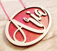 Name plaque - oval shaped with glitter - laser cut - Fred And Bo
