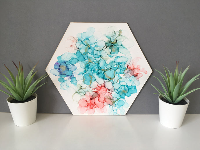 Hexagon Art- Original- Alcohol Ink - Fred And Bo