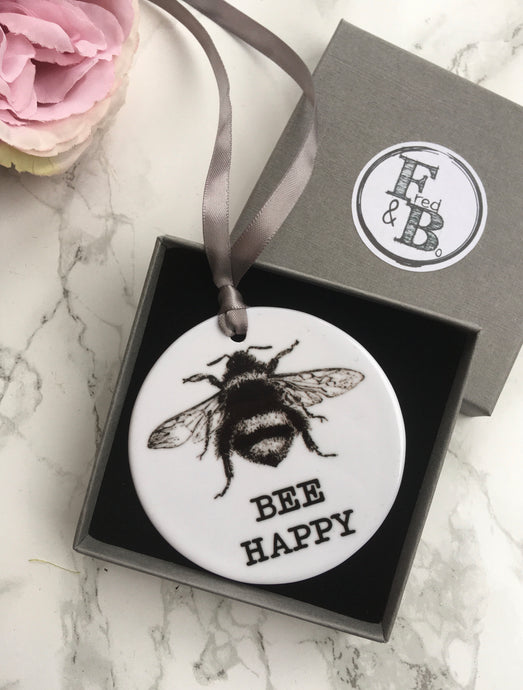 Ceramic Bauble BEE HAPPY Hanging Decoration - Fred And Bo