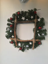 Festive square twig bell and star wreath - Fred And Bo