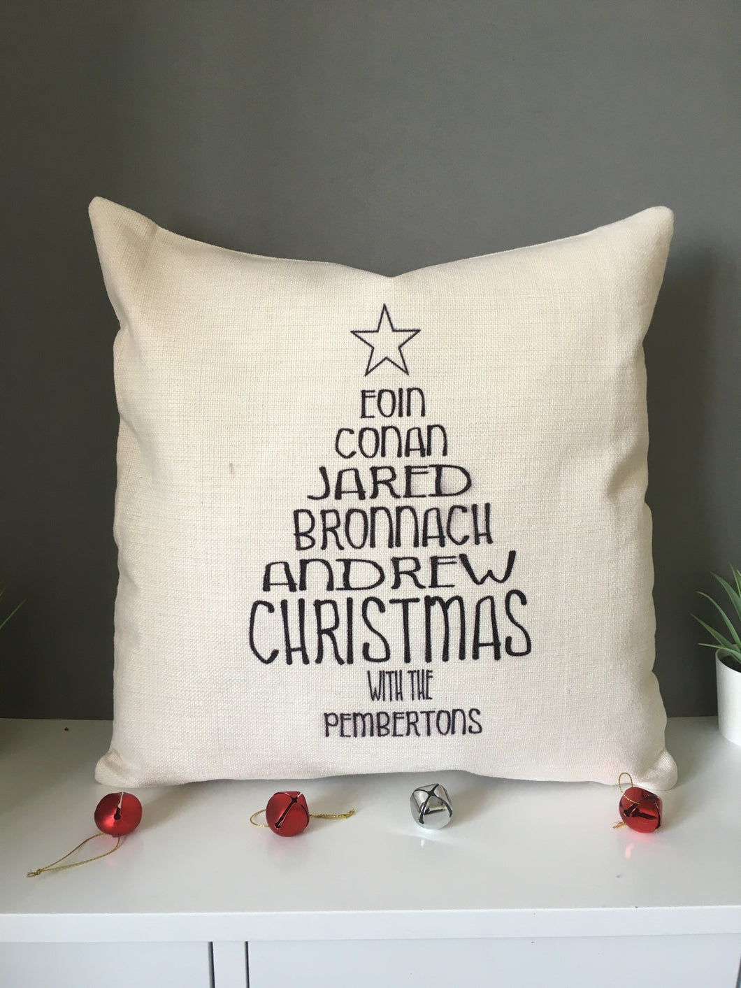 Christmas Tree Family Names cushion pillow - personalised - Fred And Bo