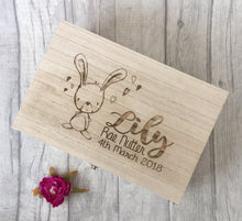 Wooden engraved bunny rabbit baby Gift Box - Memory Keepsake Box