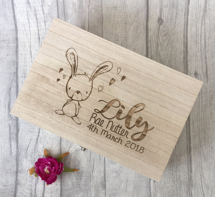 Wooden engraved bunny rabbit baby Gift Box - Memory Keepsake Box - Fred And Bo