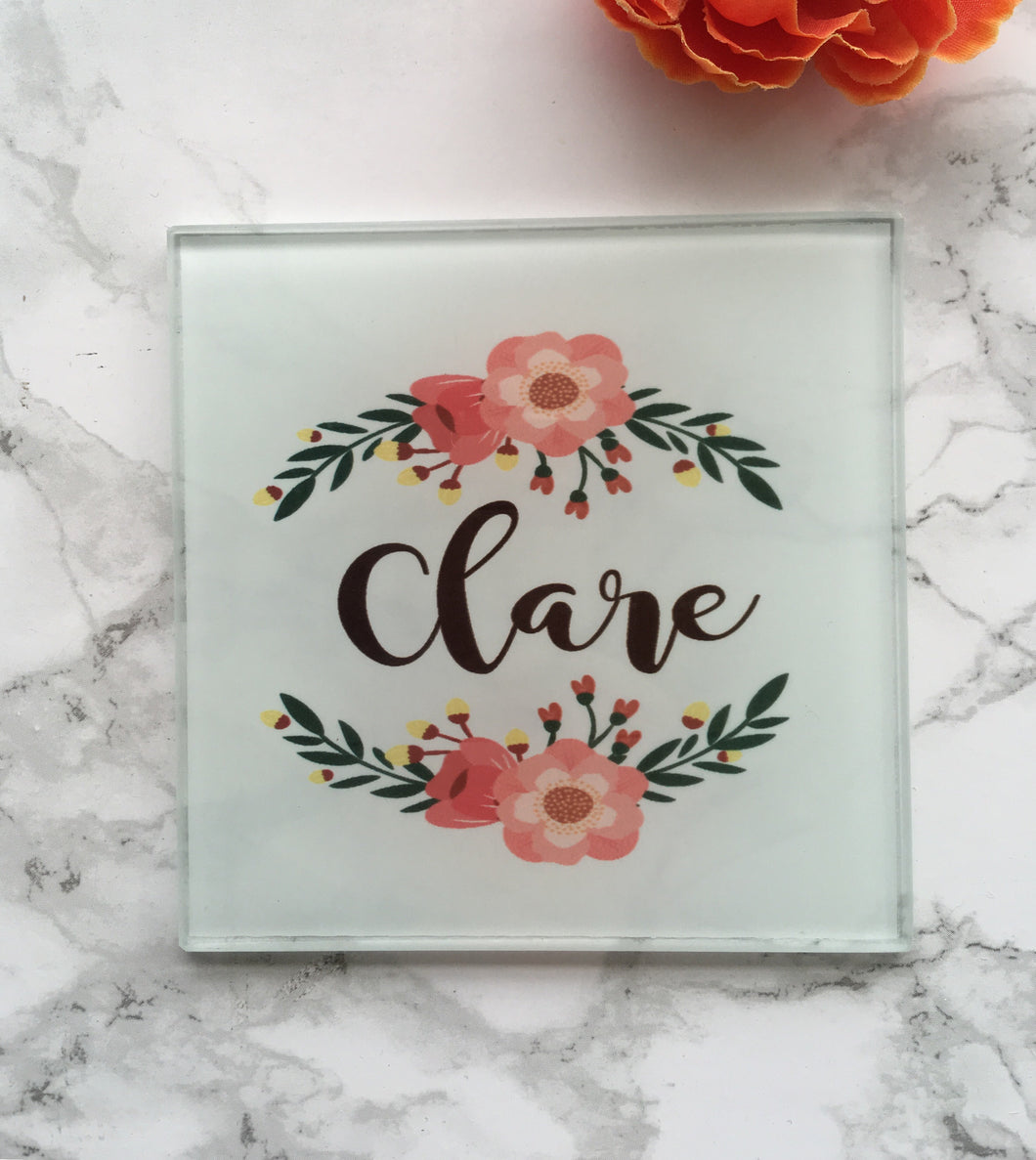 Personalised Floral Wreath Glass Coaster - Fred And Bo